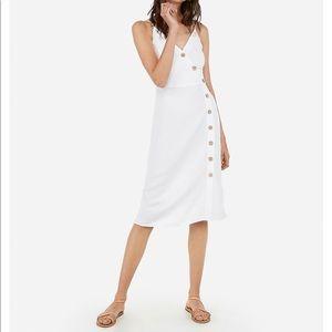 White spaghetti strap midi length dress